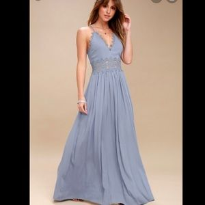 Lulus This is Love Slate Blue Lace Maxi Dress